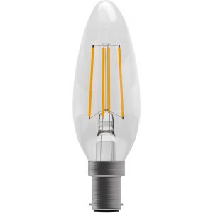 4W LED Filament Candle - Non-Dimmable - SBC/B15 2700K, 15,000 hrs, 470 lumens - Clear Candle
