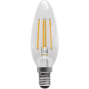 4W LED Filament Candle - Non-Dimmable - SES/E14 2700K, 15,000 hrs, 470 lumens - Clear Candle