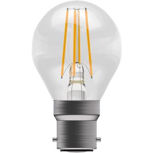 4W LED Filament Round - Non-Dimmable - BC/B22 2700K, 15,000 hrs, 470 lumens - Clear round