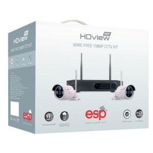 4 Channel Wireless 1080p HD Bullet CCTV kit with 2 cameras - white