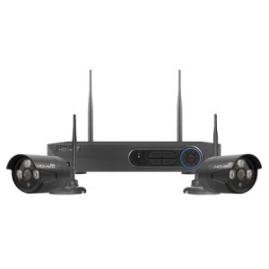 4 Channel Wireless 1080p HD Bullet CCTV kit with 2 cameras - black