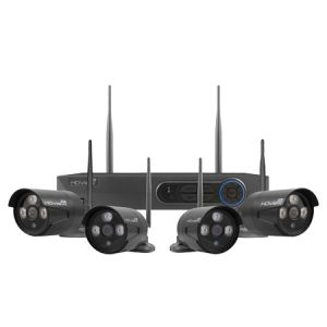 4 Channel Wireless 1080p HD Bullet CCTV kit with 4 cameras - black