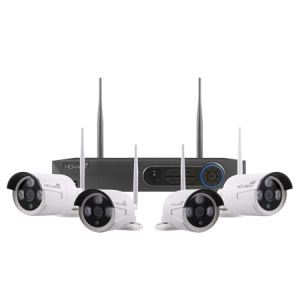 4 Channel Wireless 1080p HD Bullet CCTV kit with 4 cameras - white