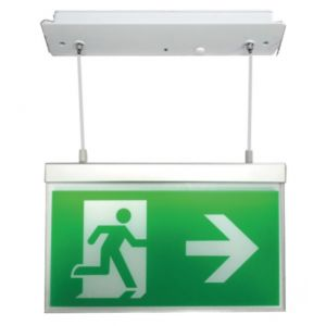 Suspended Exit Signs - Recessed hanging version - c/w ISO legend pack