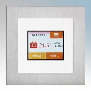White / aluminium colour touchscreen thermostat