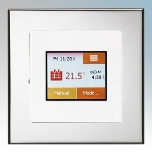 White  / chrome colour touchscreen thermostat