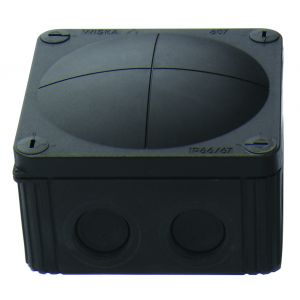 Cable Junction Boxes - Black junction box c/w terminal 41A 110 x 110 x 66mm