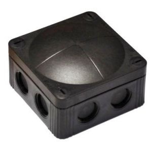 Cable Junction Boxes - Black junction box c/w terminal 24A 76 x 76 x 51mm