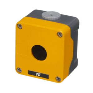 Metal Control Station Enclosures - 1 hole (yellow lid)